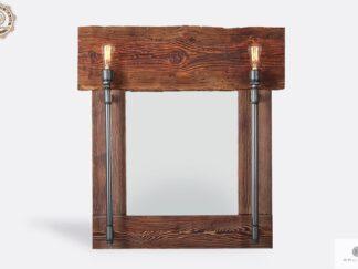 Industrialne lustro ścienne z drewna litego DENAR