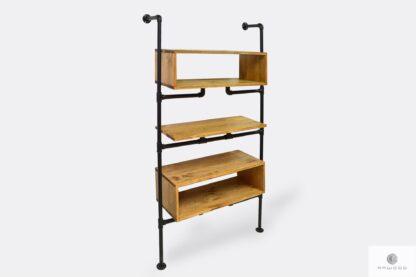 Industrialny regał z drewna litego i stali na książki do pokoju DENAR