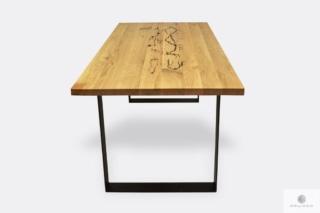 Industrialny stół dębowy na metalowych nogach do jadalni WESTA