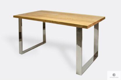 Industrialny stół dębowy z chromowanymi metalowymi nogami SILVERADO