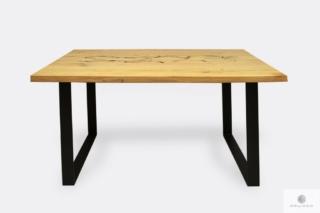 Industrialny stół dębowy z czarnymi metalowymi nogami WESTA