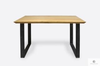 Industrialny stół dębowy z metalowymi nogami BRITA