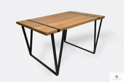 Industrialny stół z dębowego drewna litego na metalowych nogach NERON
