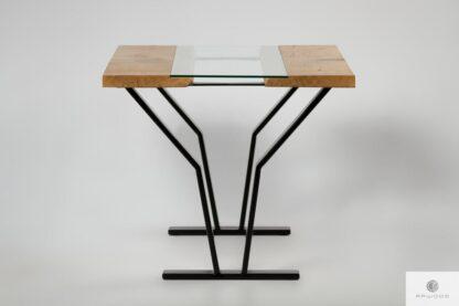 Industrialny stół ze szklanym blatem z drewna litgo do jadalni ARCO