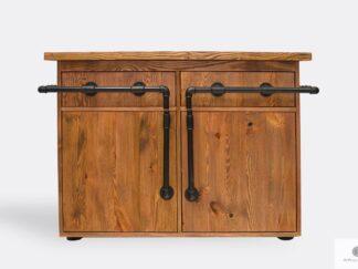 Komoda w stylu industrialnym z drewna litego i stali DENAR