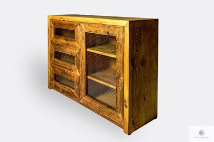 Komoda z drewna litego z szufladami i półkami do jadalni AMBER