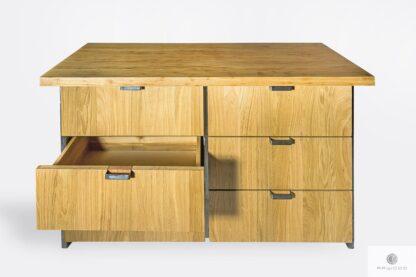 Komoda z naturalnego drewna litego w industrialnym stylu HUGON