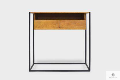 Konsola loft drewniany stolik ekspozycyjny na metalowych nogach