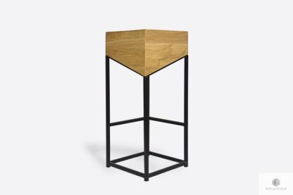 Krzesło barowe dębowe na metalowej nodze do kuchni ALEX