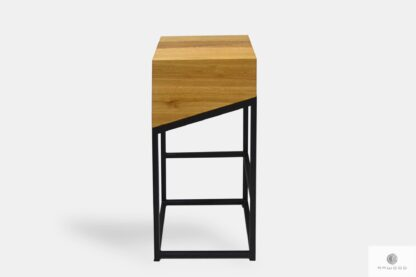 Krzesło barowe dębowe z metalowymi nogami do kuchni jadalni ALEX