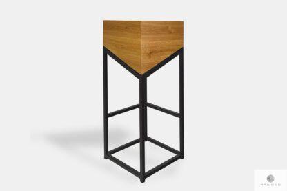 Krzesło barowe z drewna litego z metalowymi nogami do kuchni ALEX