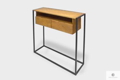 Loftowa konsola z szufladami z litego drewna do przedpokoju