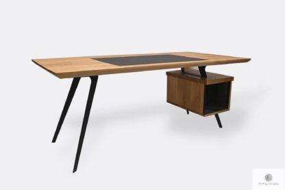 Nowoczesne biurko dębowe z czrnymi nogami do biura VITA