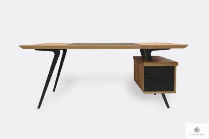 Nowoczesne biurko dębowe z szufladami na metalowych nogach do biura VITA