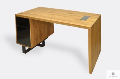 Nowoczesne biurko z drewna litego i stali z szufladami MOCCA