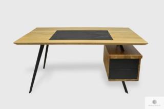 Nowoczesne dębowe biurko open space na metalowych nogach VITA