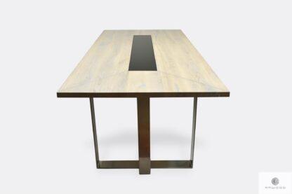 Nowoczesny stół dębowy z bielonym blatem do jadalni MOCCA