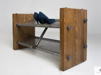 Półka na buty z litego drewna do przedpokoju OREST