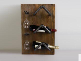 Półka na wino z drewna litego do jadalni DENAR