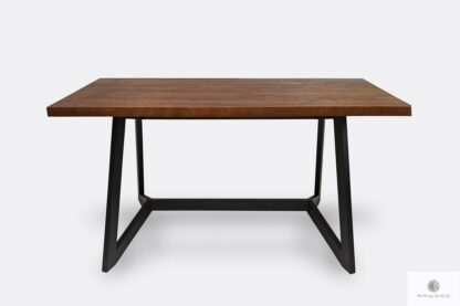 Rustykalny stół z dębowego drewna litego do salonu GERES