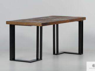 Rustykalny stół z drewnianym blatem i metalową podstawą SNAKE