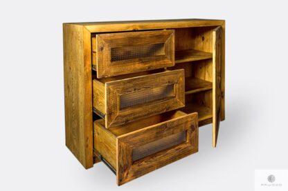 Solidna komoda drewniana z szufladami do salonu AMBER