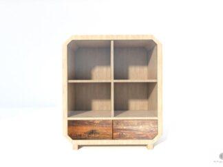 Solidna komoda z drewna litego ze szkłem do salonu pokoju OMNIS