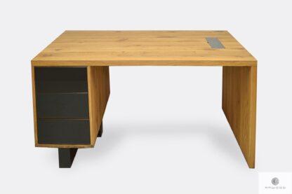 Solidne i masywne biurko z drewna litego i stali MOCCA