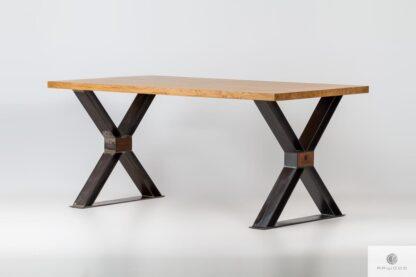 Stół dębowy loft industrialny nogi X do jadalni BREGON