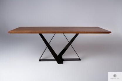 Stół dębowy na metalowej podstawie do jadalni BORNEO