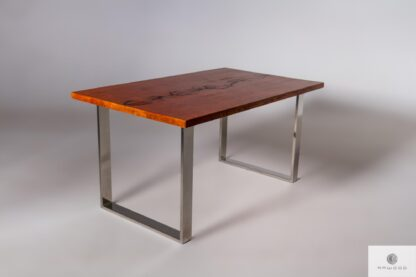 Stół dębowy z chromowanymi metalowymi nogami SILVERADO