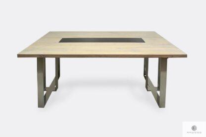 Stół dębowy z chromowanymi nogami do jadalni salonu MOCCA