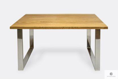 Stół dębowy z chromowanymi nogami do jadalni SILVERADO