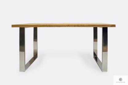Stół dębowy z nogami ze stali nierdzewnej polerowanej INOX SILVERADO