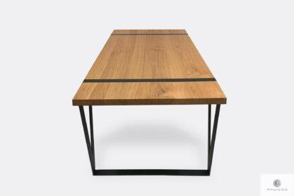 Stół drewniany lity industrialny na metalowej podstawie NERON