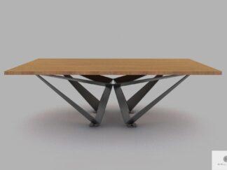 Stół industrialny loft z drewna dębowego na metalowej podstawie XAVIER