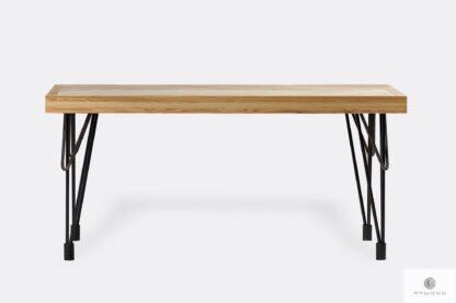Stół jodełka z drewna litego na czarnych metalowych nogach IFUX