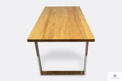 Stół z blatem dębowym naturalnym i metalowymi nogami SILEVERADO