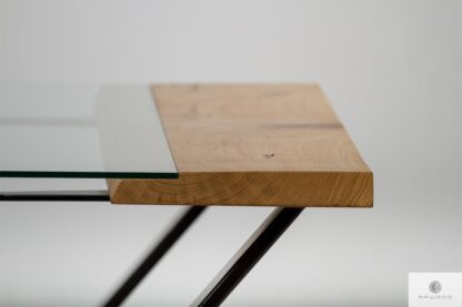 Stół z blatem z drewna ze szkłem do jadalni ARCO