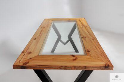 Stół z blatem z litego drewna ze szkłem na metalowych nogach do jadalni OLBERO