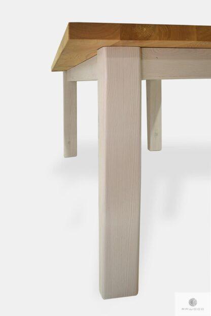 Stół z dębowego drewna litego z białymi nogami do kuchni BIANCO