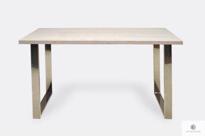 Stół z dębowym blatem bielonym chromowane nogi SILVERADO