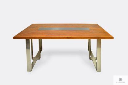 Stół z dębowym blatem i chromowanymi nogami MOCCA