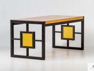 Stół z dębowym blatem i witrażem na czarnych metalowych nogach HEROX