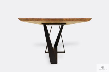 Stół z dębowym blatem i metalowymi nogami do jadalni BORNEO