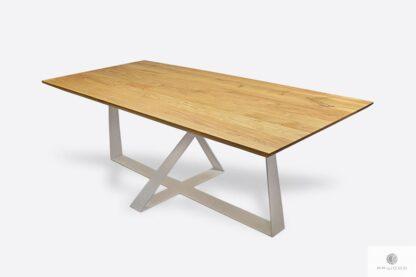 Stół z dębowym blatem metalowymi nogami do salonu BORNEO