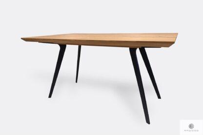 Stół z dębowym blatem na czarnych metalowych nogach VITA