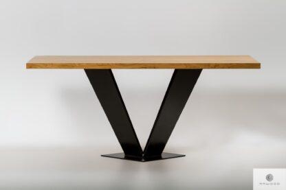 Stół z dębowym blatem na metalowej nodze do jadalni TOSCA