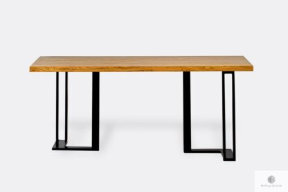 Stół z dębowym litym blatem i metalową podstawą SNAKE