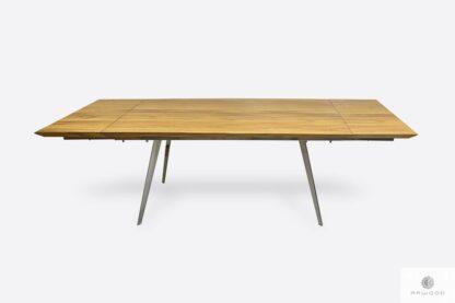 Stół z dostawkami nowoczesny dębowy z metalowymi nogami VITA